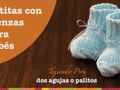 Botitas con trenza tejidas en dos agujas o palitos para bebés