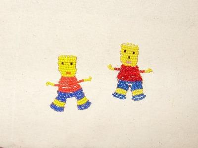 Cómo hacer a Bart Simpson con chaquiras, para día del niño.