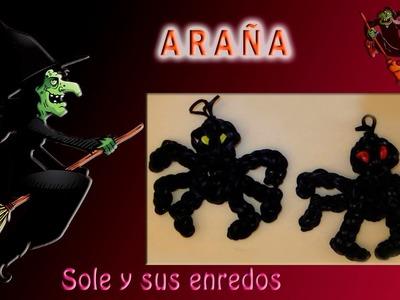 Cómo hacer una Araña (decoración Halloween)  con gomitas elásticas