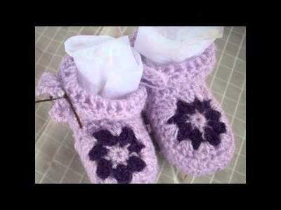 Escarpines y zapatitos para bebe a crochet.(Bottes ou chaussures )
