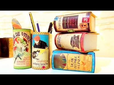 Manualidades regreso a clase: organizadores de escritorio en forma de libro DIY | Isa ❤️
