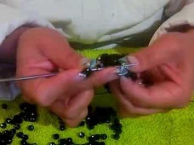 Puntada para monedero tejido con cuentas parte 2
