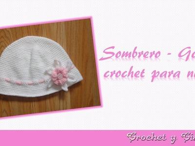 Sombrero verano crochet (ganchillo) con flor