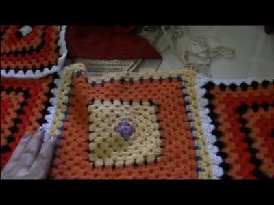 Trabajos terminados y por terminar a crochet, 2 agujas y punto de cruz