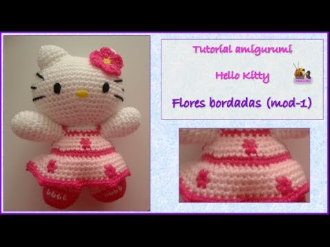Tutorial amigurumi Hello Kitty - Flores bordadas (mod-1)