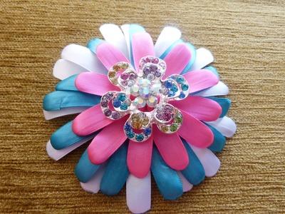 Tutorial flores grandes accesorios  para el cabello en cinta delgada. Manualidades la hormiga