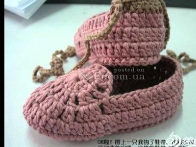Zapatillas tejidas a crochet para dama