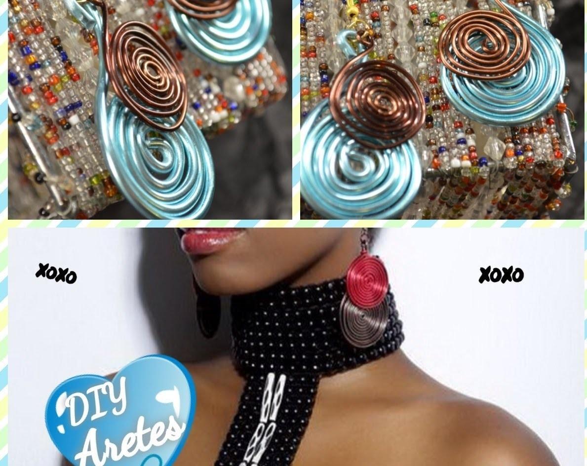 Aretes con alambre de colores. DIY wire earrings