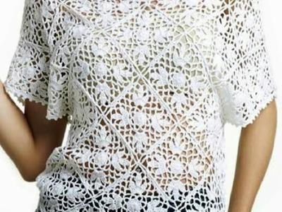Blusa Blanca Rombos Cuello V a Crochet