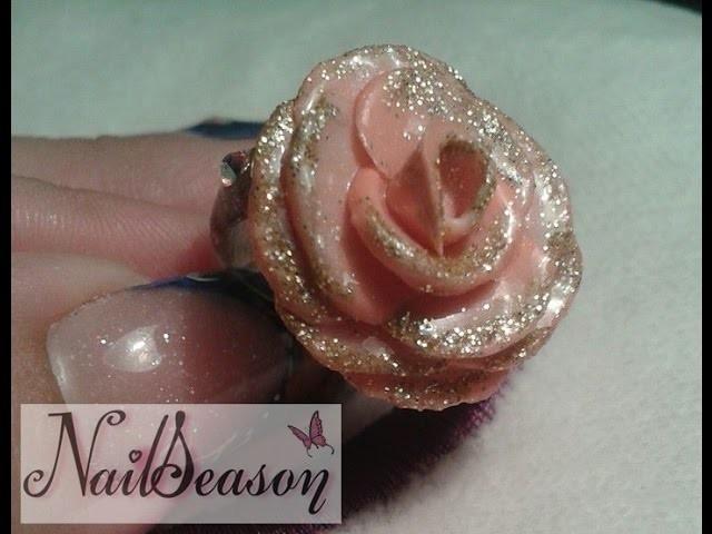 Como hacer rosa de acrilico 3d paso a paso. flor de acrilico para anillo