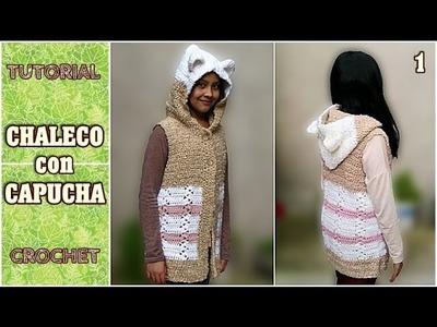 Como tejer chaleco con capucha a crochet (1.2)