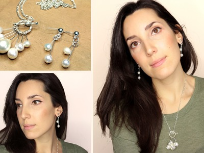DIY Conjunto de colgante y pendientes de perlas