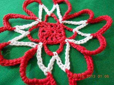 Flor cuadrada tejida en cadenas sencilla y facil