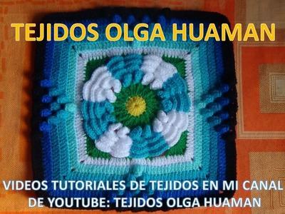 Flor de dos colores tejido a crochet para colcha paso a paso video 3