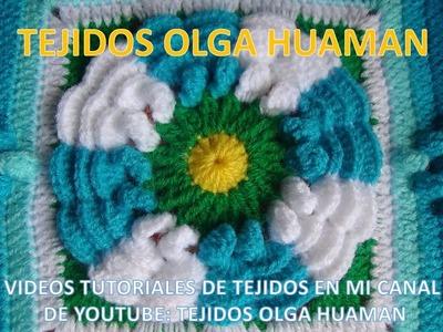 Flor de dos colores tejido a crochet para colcha paso a paso video 2