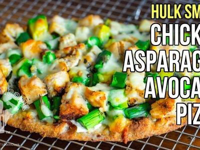 Hulk Smash Chicken, Asparagus, Avocado Pizza. Pizza de  Pollo, Espárragos y Aguacate