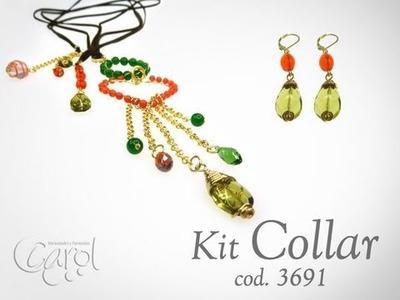 KIT 3691 Kit collar agata verde y coral bambu