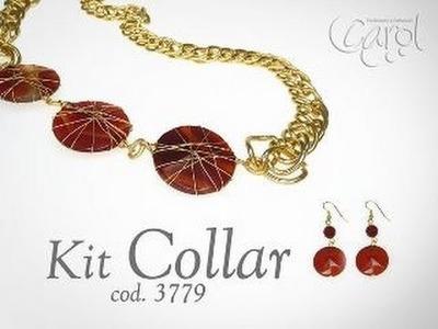 KIT 3779  Kit collar cadena y agata roja x und
