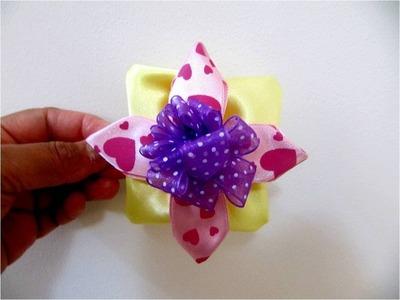 Moños para el cabello flor  cuatro pétalos con capas en cintas