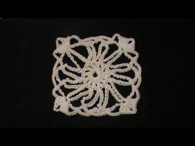 Motivo Sol radiante a crochet.
