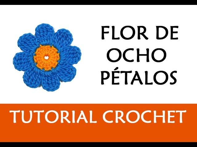 PATRÓN CROCHET: FLOR DE OCHO PÉTALOS (GRANDE) | Patrones Valhalla