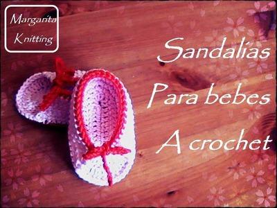 Patucos estilo sandalias para bebes a crochet (diestro)