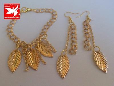 Pendientes de moda dorados con cadenas y hojas ( golden earrings with chains and leaves )