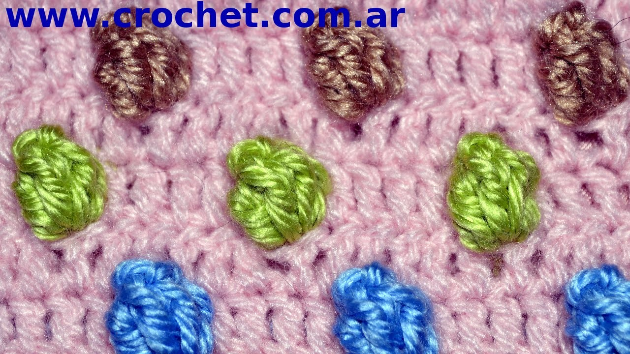 Punto Popcorn en Colores tejido a crochet tutorial paso a paso.
