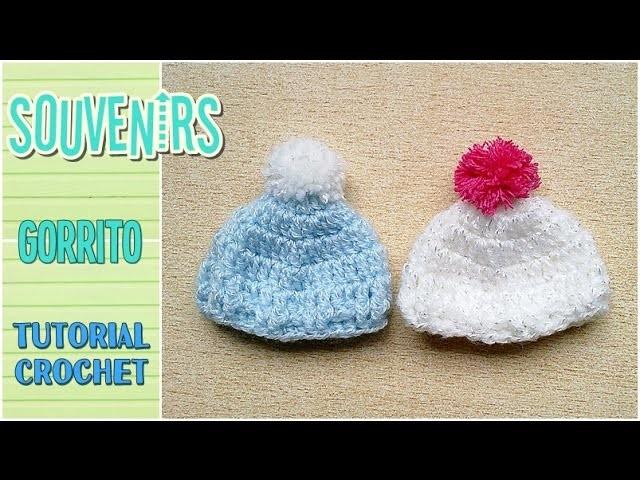 Souvenir a crochet para baby shower MINI GORRITO, paso a paso