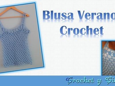 Blusa verano con punto calado a crochet - Parte 1