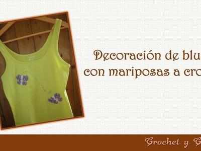 Cómo decorar rápido y fácil blusas para verano nuevas o recicladas con mariposas a crochet
