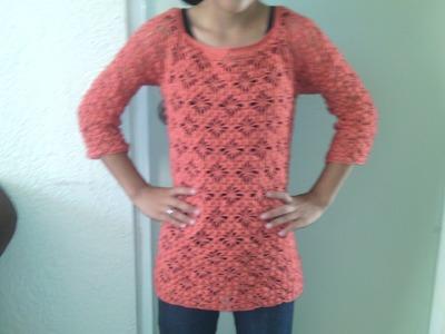 Como hacer una blusa de manga 3.4 en crochet paso a paso primera parte