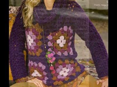 Como Tejer Suéter  con cuadros gdes a crochet