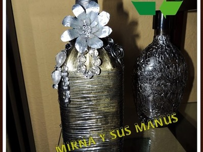 Diy. Botella de Vidrio Decorada. Diy Glass bottle decorated