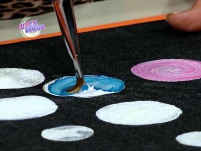 Pintura para tela y Dimensional Glitter y Perlado sobre jean - Rosana Ovejero en Bienvenidas Tv