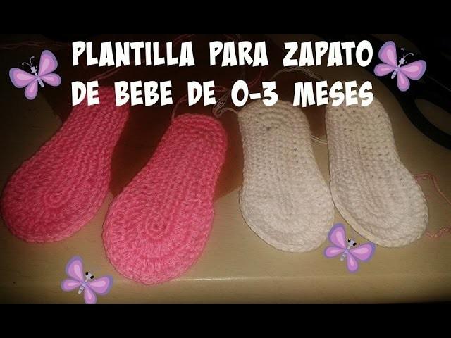 PLANTILLA PARA ZAPATO DE BEBE 0-3 MESES