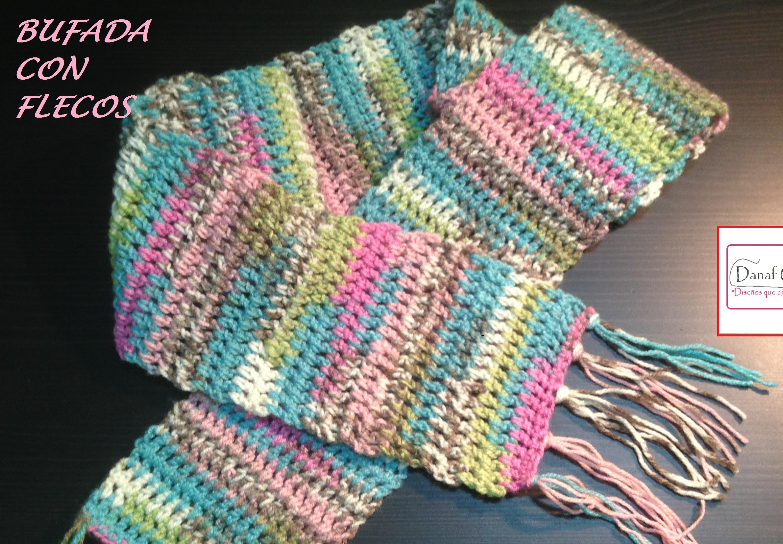 Bufanda con flecos a crochet o ganchillo para principiante. Zurdos