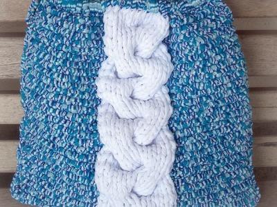 Còmo tejer un bolso en trapillo con trenza (palillos) - tutorial