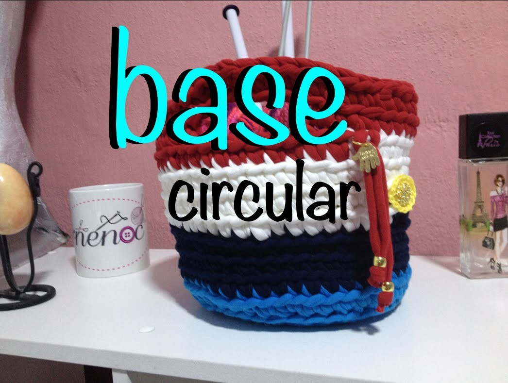 Cesta Bolsa Circular Trapillo Crochet Ganchillo, basket diy