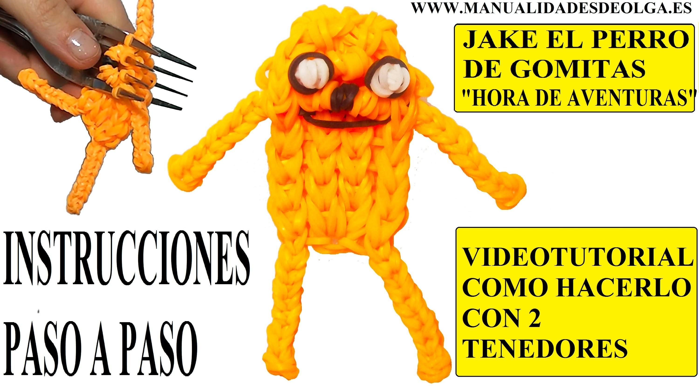 COMO HACER A JAKE EL PERRO DE HORA DE AVENTURAS DE GOMITAS (LIGAS) CHARMS CON DOS TENEDORES