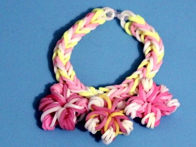Cómo hacer pulsera con gomitas y flores. Flower rainbow loom bracelet