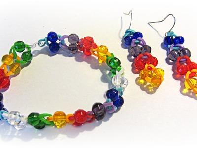 Como hacer pulseras de gomitas o ligas con cuentas. Rubber band bracelet.