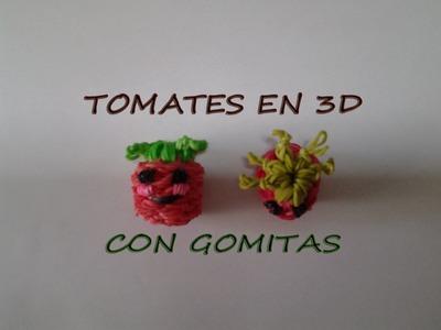 COMO HACER UN TOMATE EN 3D CON GOMITAS (LIGAS)CON TELAR.