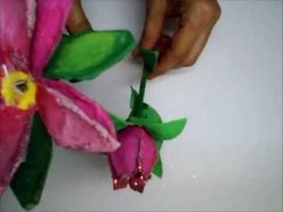 Flores de cartón de huevo