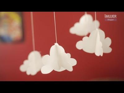 Móvil de nubes en papel | Manualidades en PAPEL | @iMujerHogar