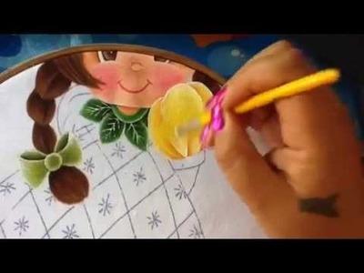 Pintura en tela niña piña # 4 con cony