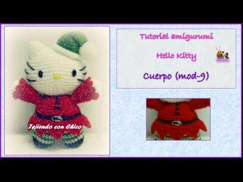 Tutorial amigurumi Hello Kitty - Cuerpo (mod-9) (English subtitles)