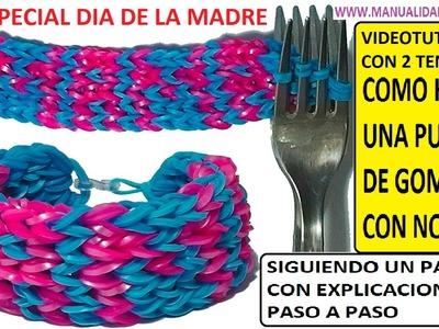 COMO HACER UNA PULSERA CON NOMBRE DE GOMITAS CON DOS TENEDORES. VIDEOTUTORIAL DIY,