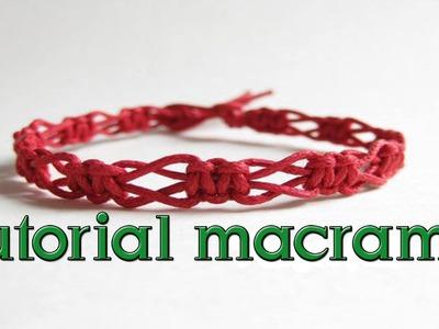 Como hacer una pulsera macrame nudo entrelazada