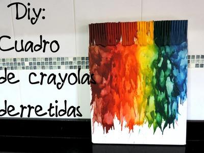 DIY- Cuadro con crayolas derretidas (decora tu habitación)